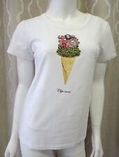 "CLIPS HiEnd Designer Top ""Icecream"" size M white cotton Made in Italy 299$retail"