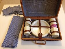 Vintage Wicker Picnic Basket Retro 1980's 4x Cups Plates Cutlery Napkins.Blanket
