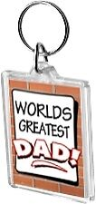Worlds Greatest Dad Acrylic Keyring Key Ring Range Daddy Father World