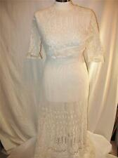 Vintage 1900s Tambour Net Dresses Ecru Wedding Dress Antique Edwardian WWI Lace