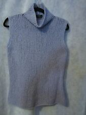 Weekend Maxmara Sweater Turtleneck Sleeveless wool blend Cornflower Blue LG L