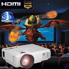 LED Projector Home Theater USB TV 3D HD 1080P Business VGA/HDMI Projection White
