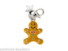 Sterling Silver Tingle Gingerbread Man clip on Charm with Gift Box and Bag SCH86
