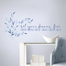 Kathy Davis SET YOUR DREAMS FREE WALL DECALS Inspirational Quotes Blue Stickers