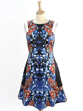 Karen Millen Womens Blue Floral Print Scuba Dress Size 14