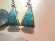 SOUTHWEST NATIVE STERLING  SILVER PETIPOINT TURQUOISE EARRINGS  HANDMADE UNIQUE