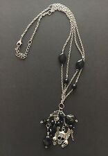 TIBETAN SILVER CHARM WINGED SKULL NECKLACE W/ BLACK ONYX STONES & CHARMS