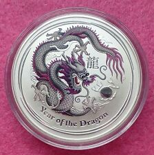 2012 AUSTRALIA LUNAR YEAR OF THE DRAGON - SILVER 1oz SILVER $1 BU COIN