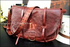 BOTTEGA VENETA Italy Rare Vintage Postal Leather Canvas Messenger Mail Bag Mens