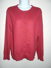 SUTTON 100% CASHMERE CRIMSON RED CREWNECK LONG SLEEVES CARDIGAN SWEATER M