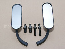 Black Arlen Ness Mini Oval Mirrors Pair 4 Harley Touring Sportster Dyna Softail