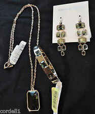 Michael Kors Parisian Jewel Rose Gold Green Stone Necklace Bracelet Earrings NWT