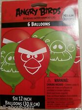 "ANGRY BIRDS 6 ct 12"" Latex BALLOONS Red & Green Party Decorations Supplies"
