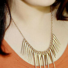 Fashion Elegant Collares Pendant Necklace Gold Plated Spike Steampunk Necklace