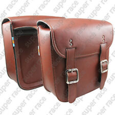 Stock Brown Universal Motorcycle PU Leather SaddleBags Side Bags Metal Clasp New