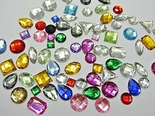 200 Mixed Color Flatback Acrylic Sewing Rhinestone Assorted Shape Sew on beads