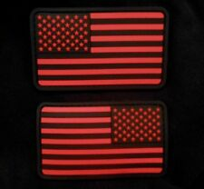 USA US FLAG RUBBER PVC LEFT RIGHT REVERSE SHOULDER BLACK OPS RED VELCRO 2 PATCH