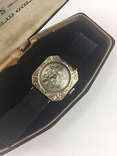 Antique Vintage Art Deco 14k White Gold Filigree Ladies Wrist Watch