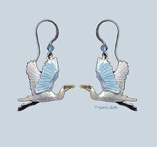 GREAT EGRET Cloisonne EARRINGS by Bamboo Jewelry STERLING & Enamel Bird - Box