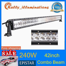 42in 240W LED SPOT/Flood COMBO Offroad Light Bar 4WD SUV Boat Driving Lamp 300W