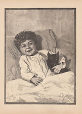 ADORABLE LITTLE BOY COZY IN BED WITH HIS BELOVED CAT ANTIQUE CATS PRINT 1885