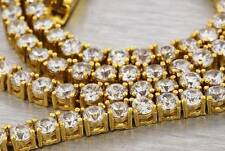 "Yellow Gold Finish 30"" One Single Row Iced Out Simulated Diamond Chain Mens Ross"