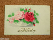 Vintage Postcard: Birthday Greetings, Bowl of Roses and Bulbs, Flowers, 1924