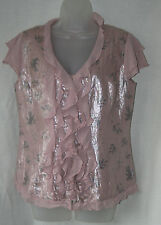 PER UNA (UK10 / EU38) ANTIQUE ROSE CAP-SLEEVED FRILLED BLOUSE - NEW