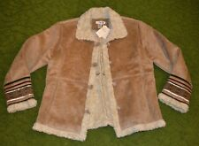 NWT's Women's Coldwater Creek Trim Detail Suede Winter Coat-Size Large