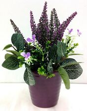 "Lavender~Seed Grass Arrangement~Ribbed Ceramic Pot.12"" T. Artificial. Lav/Purple"