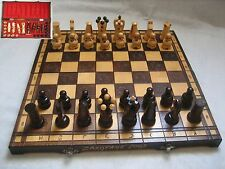 CHESS SET Large Vintage  wooden box   hand carved wood