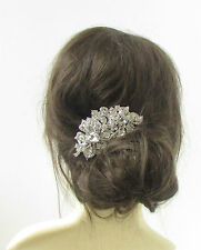 Large Silver Hair Comb Bridal Diamante 1920s Wedding Headpiece Vintage Prom 285