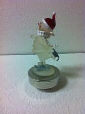 """MUSICAL SKATING SNOWMAN FIGURINE PLAYING """"RUDOLPH THE RED NOSED REINDEER NIB"""