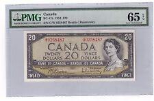 "Canada $20 Dollars Banknote 1954 BC-41b PMG Gem UNC 65 EPQ ""G/W Prefix"""