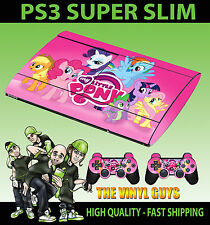 PLAYSTATION PS3 SUPER SLIM MY LITTLE PONY RAINBOW SKIN STICKER & 2 X PAD SKINS