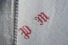 drap ancien,épaisse toile de LIN, N°551; Monogramme PM ,2 lès, 273x 200cm ,