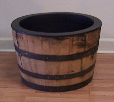Half White Oak Whiskey Barrel with Black Plastic Liner