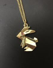 Funky Gold Plate Origami Rabbit Bunny Necklace Kitsch Quirky As Seen In Magazine