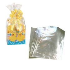 "5 SUPER CLEAR CELLO GIFT BASKET BAGS 14""X 24"""