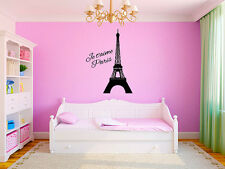 "Eiffel Tower Paris Je t'aime (I Love You) Wall Decal Vinyl Sticker Home 22""Tall"