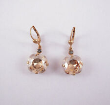 Catherine Popesco 14K Gold Plated Large Champagane Swarovski Crystals Earrings