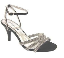 WOMEN'S PARTY PROM SIMULATED DIAMANTE WEDDING BRIDAL SANDALS SHOES UK SIZE F-439