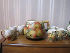 Antique Lenox Belleek Hand Painted Set Cider Pitcher & 6 Mugs Signed K.Merseher