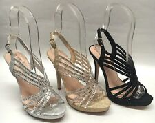 NEW Womens de Blossom Collection Marna72 Strappy Glitter Rhinestone Heels Shoes
