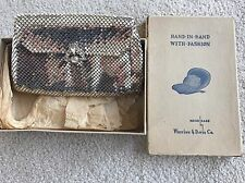 Vintage Whiting & Davis Co. Silver Mesh Evening Bag Purse With Box 1635S