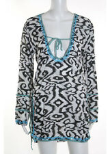 LETARTE Multicolored Cotton Animal Print Sequin Detail Tunic Cover Up Sz M
