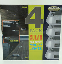 4 Pack Solar Multi-function LED Marker Lights Driveway, Pathway, Stairs, Dock