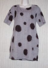 ANTHROPOLOGY GIRL Short Sleeve FUZZY TUNIC DRESS GRAY BROWN CIRCLE PRINT SIZE :S