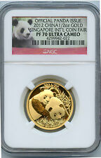 2012 GOLD 1/2 OZ PANDA SINGAPORE COIN FAIR NGC PROOF 70 ULTRA CAMEO W/BOX & COA!