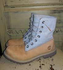 TIMBERLAND EARTHKEEPER LEATHER CANVAS WORK BOOTS LADIES 7 M BEIGE TAN FOLD OVER